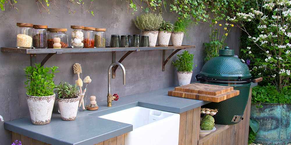 Large Big Green Egg In Outdoor Kitchen