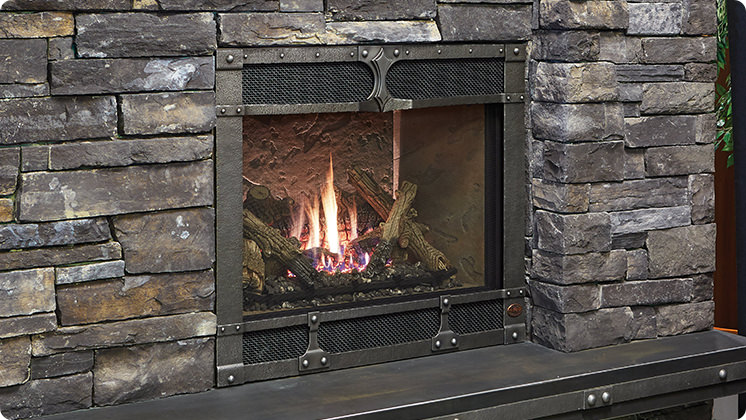 FireplaceX 864 HO Burnished patina Timberline face