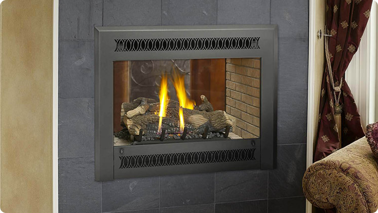 FireplaceX 864 See-Thru - Black painted Metropolitan™ face
