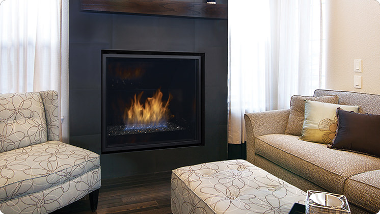 Regency Horizon HZ965E Large Contemporary Gas Fireplace - Black Crystals