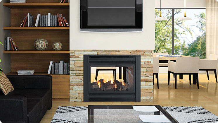 Regency Panorama P121 Two-Sided Gas Fireplace - Black Louvers