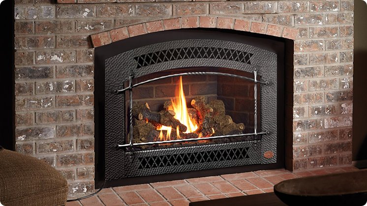 FireplaceX 33 DVI Large Gas Insert - Black painted Artisan™ face