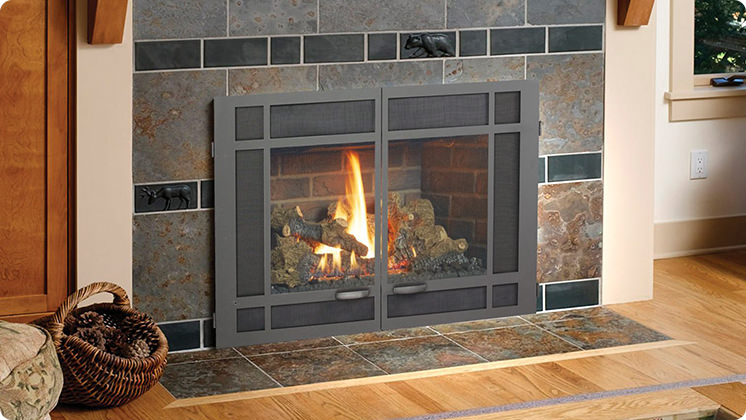 FireplaceX 33 DVI Large Gas Insert - Black painted Architectural™ double door