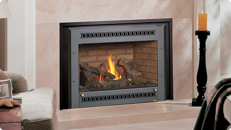 FireplaceX 34 DVL Large Gas Insert - Black painted Metropolitan™ face