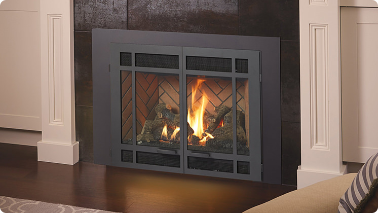 FireplaceX 34 DVL Large Gas Insert - Black painted Architectural™ double door