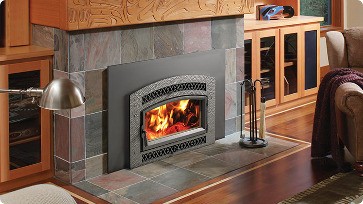 FireplaceX Flush Wood Plus Arched - Artisan™ hand-forged, hand-hammered iron face