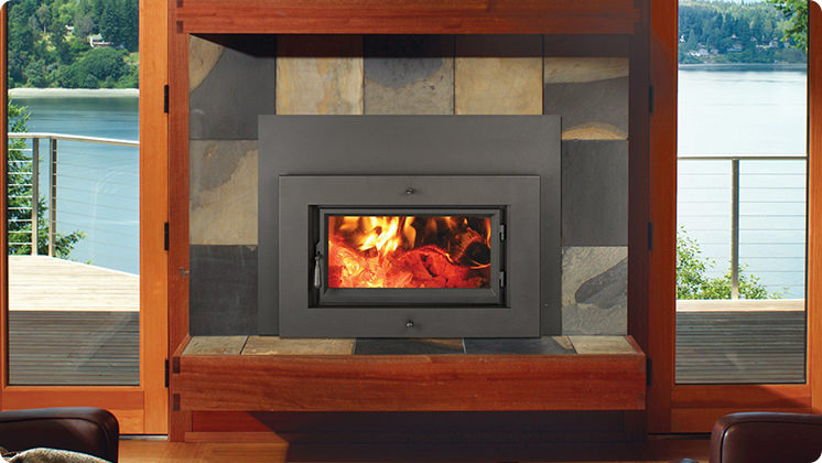 FireplaceX Flush Wood Plus Rectangular - Black painted Shadowbox™ face with concealed convection grills and single piece surround panel
