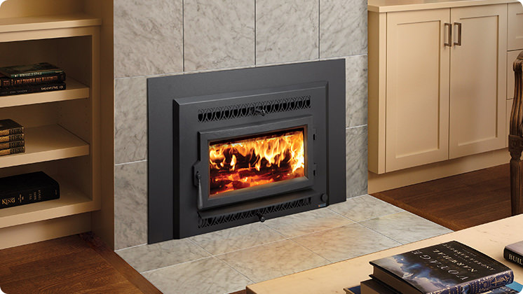 FireplaceX Small Flush Wood Hybrid-Fyre™ - Metropolitan™ face with FireplaceX convection outlets
