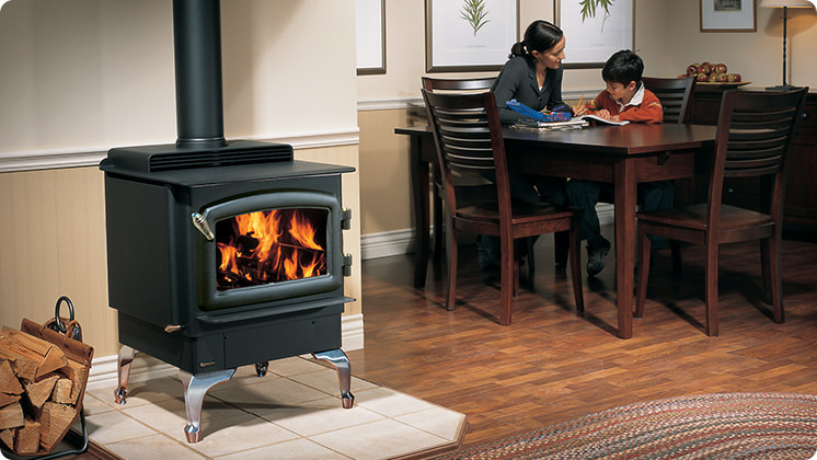 Regency F2400 Wood Stove - Brushed Nickel Cast Iron Legs